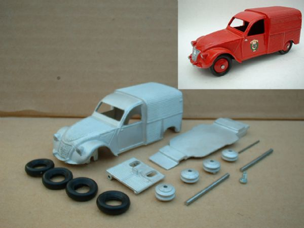 A DINKY TOYS COPY MODEL 25D 2CV CITROEN FIRE INCENDIE [ IN KIT FORM ]